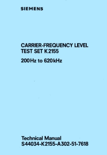 Siemens - Carrier frequency level test set K2155
